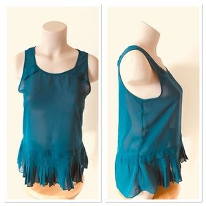 American Eagle Outfitters Sheer Teal Top